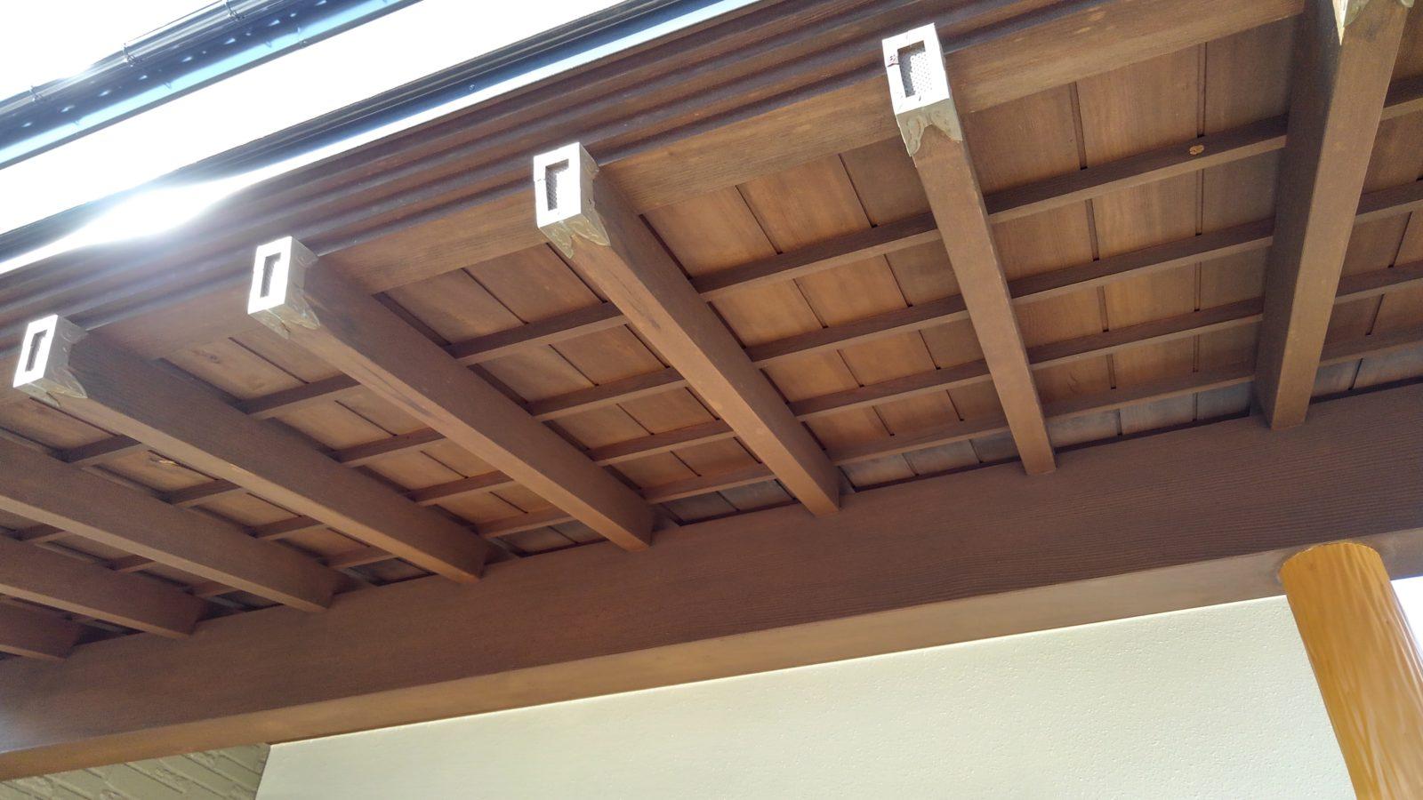 玄関庇 木部塗装